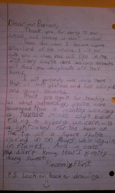 Kid writes letter to meteorologist