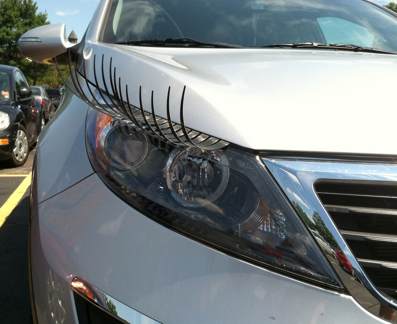 Spotted False Eyelashes For Your Car